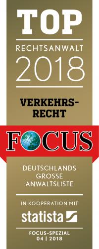 Focus Siegel Top Rechtsanwalt 2018 Verkehrsrecht