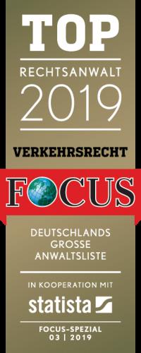 Foucs Siegel TOP Rechtsanwalt 2019 im Verkehrsrecht